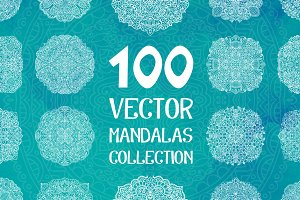 100 Vector Mandalas Round Ornaments