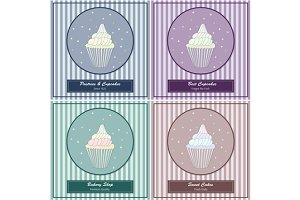 Tamplates with hand drawn cupcakes