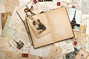 Old papers, postcards, letters