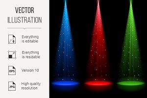 Three conical RGB shafts of light