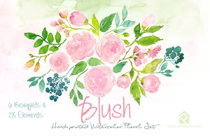 Blush- Watercolor Floral Set