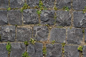Old wall of grey stones texture