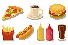 Set fast food flat icon fries potato