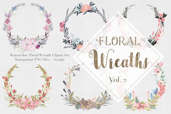Watercolor Floral Wreaths Vol.2 - Graphics