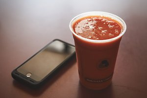 iPhone and Fruit Smoothie