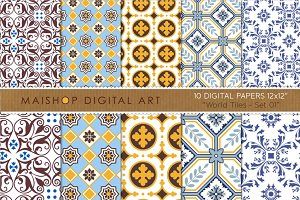 Digital Paper-World Tiles Set 01