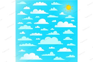 Clouds collection on blue sky