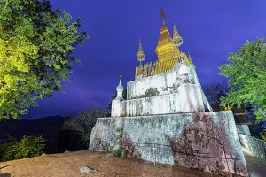 Phu Si Temple at twilight time