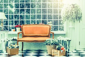 sofa and flowers