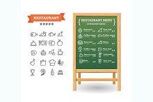 Menu Restaurant Board. Vector