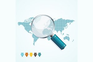 Magnifier and World Map. Vector