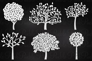 Chalkboard Trees Clip Art & Vectors