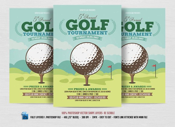 10 Popular Free And Premium Golf Brochure Templates Designs To Golf