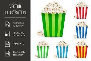 Popcorn in multi-colored striped pac