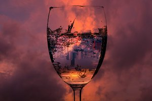 cityscape in glass of wine