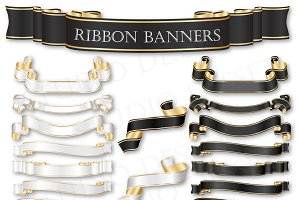 Ribbon Banners in Black and White