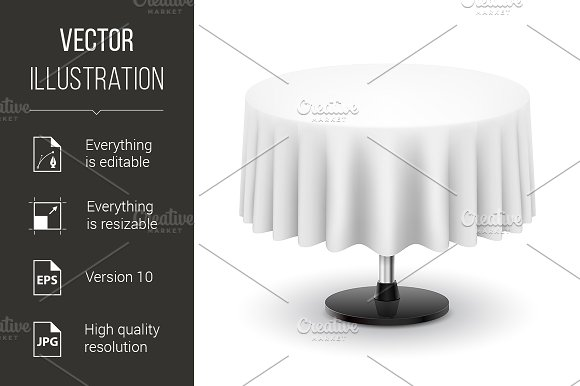 Round table with white cloth. - Graphics