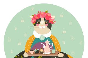 Cute cat with teapot and cakes