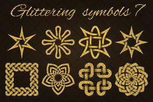 Golden glittering symbols pack 7