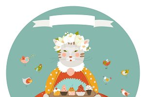 Cat with cakes wearing dress