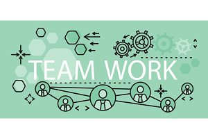 Team Work Concept Banner Design