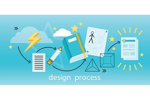 Design Process Banner Flat Concept