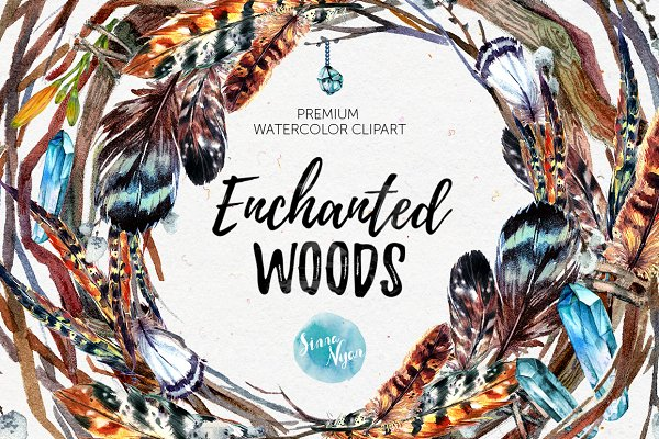 Enchanted Woods Watercolor Mega Pac…