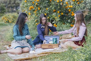 Girl friends on picnic