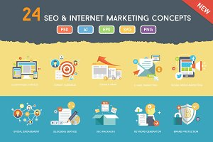 Flat SEO & Online Marketing Concepts