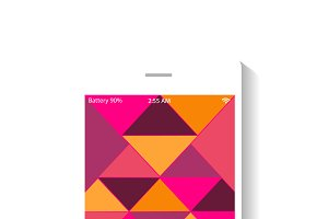 Mobile icon pink polygonal