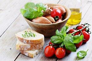 Bruschetta Ingredients.