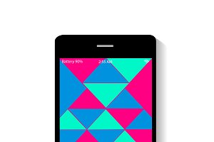 Mobile icon polygonal neon