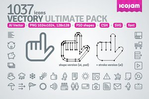 1037 icons in Vectory Ultimate Pack