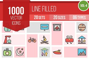 1000 Line Filled Icons (V4)