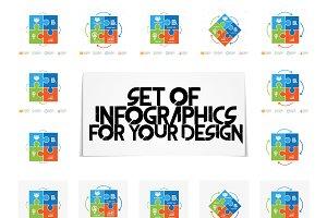 Puzzle infographics set