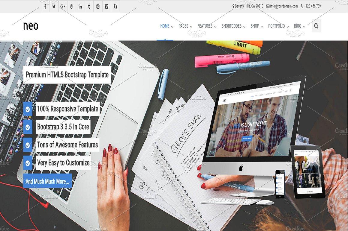 NEO - Multipurpose Template ~ Bootstrap Themes ~ Creative Market