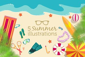 5 summer beach vector backgrounds