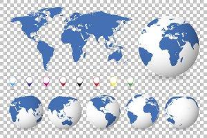 Set of globes