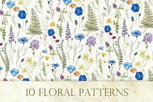 """10 Floral Patterns"" Watercolor Set"