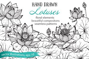 Hand drawn graphic lotus flowers