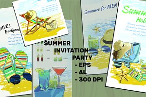 Summer Invite, 5 Templates (vector)