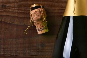 Closeup Champagne Bottle and Cork