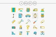 Rock climbing flat color icons set