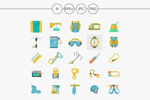Rock climbing flat color icons set