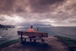 Man and dog sitting on a bench