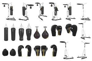 Boxing equipment, set objects