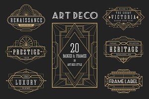 20 ArtDeco Badges & Frames