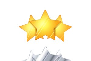 Three glossy rating stars on white
