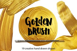 Golden paint shapes, design elements