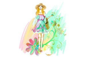 Watercolor girl in hat